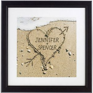 Personalized Heart in Sand Framed Print,  So cute!!