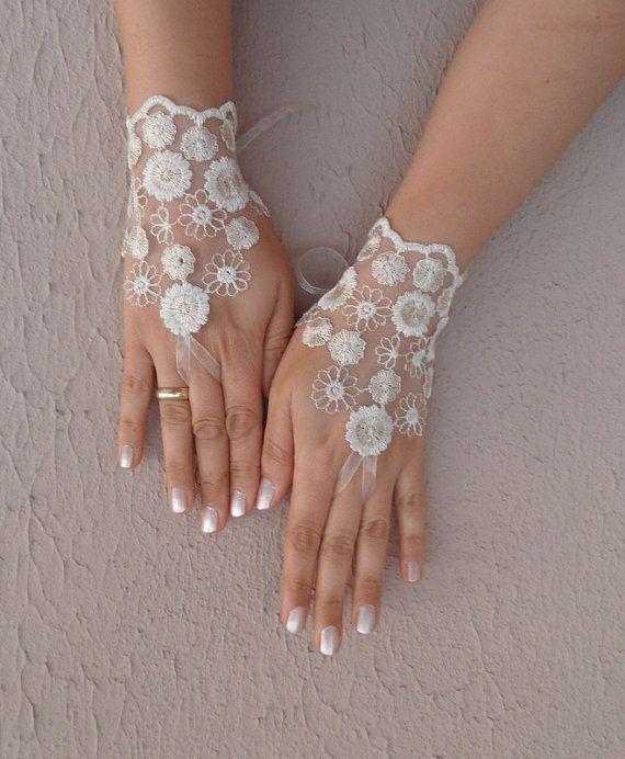 Ivory cream ecru lace gloves bridal gloves wedding by WEDDINGHome, $25.00