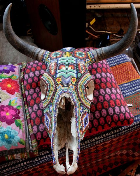 Southwestern decor isn't normally my style, but I would love to paint and hang a bull head similar to this one!