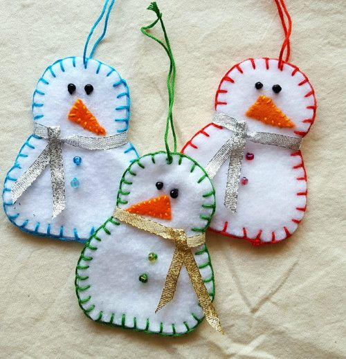Snowman Trio Ornament Set Handsewn Felt Holiday Decor Red Blue Green