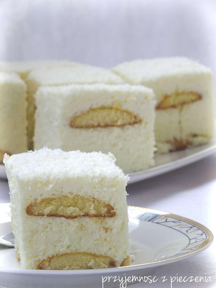 ciasto śnieżka, pianka kokosowa,ciasto bez pieczenia