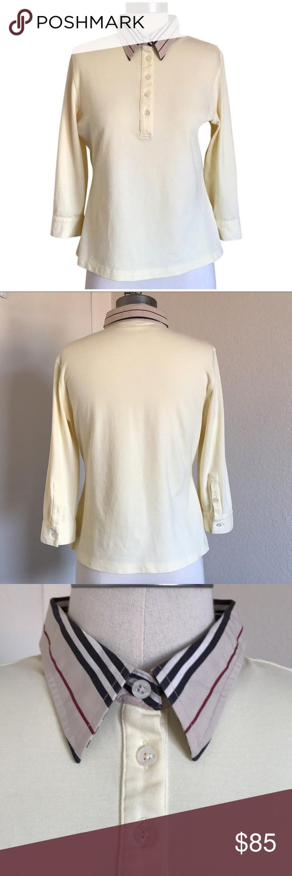 Light Yellow Polo Shirt Slim Fit, like new condition. 91% supination cotton, 9% spandex. Three quarters sleeves. Burberry Tops