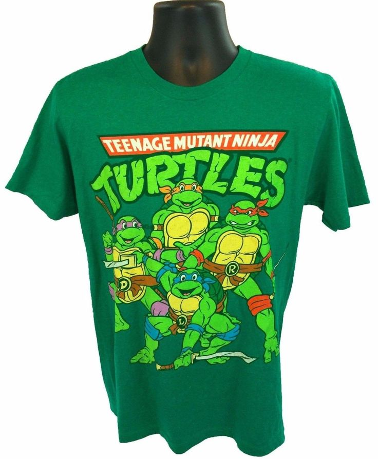 New TNMT Teenage Mutant Ninja Turtles Men's T-Shirt Size Medium Green Cotton