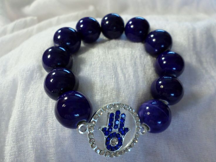 Navy Blue Hamsa Hand Bracelet made with ceramic beads  Price R150.00   #hamsahand #evileye #hamsa #bracelet #beads #onlinejewellery #isaacsjewellery