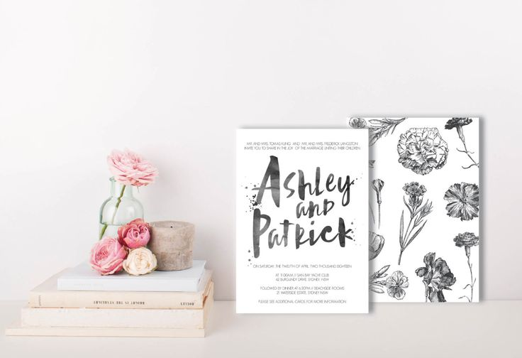 A personal favourite from my Etsy shop https://www.etsy.com/au/listing/478260944/black-watercolour-invite-botanical