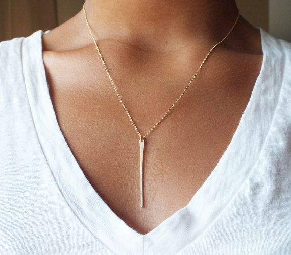 Long Gold Filled Bar Necklace  Gold Needle by BellatrinaJewelry, $36.00