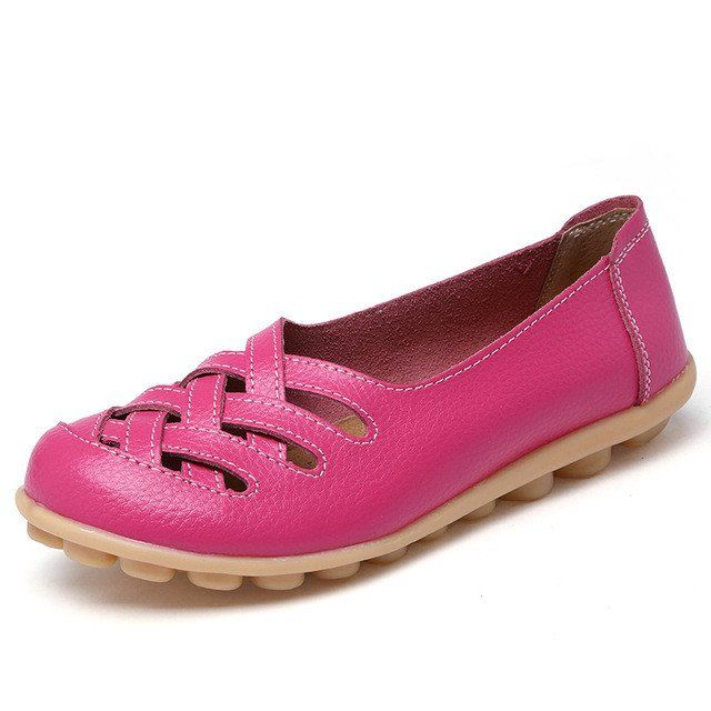 Hot Pink Casual Comfy Smooth Shoes with Lattice Hatched Upper - Comfor – Nodule Shoe