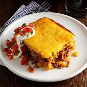 Chili Beef Corn Bread Casserole Recipe from Taste of Home