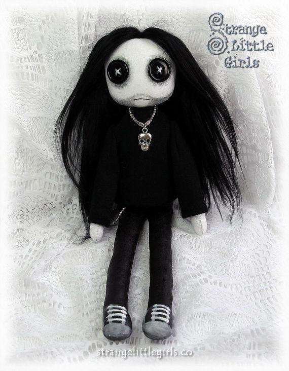 Button-eyed Gothic guy cloth art doll by StrangeLittleGirlsUK