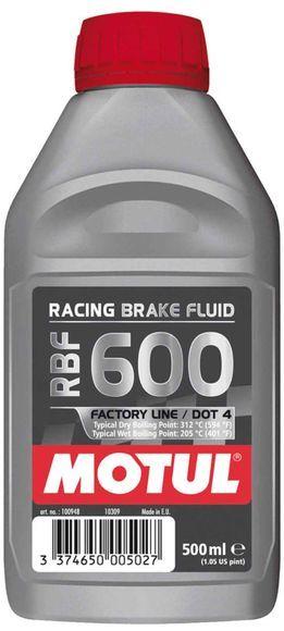 Motul RBF 600 - Factory Line. DOT-4 Racing (500ml). 100% Synthetic Brake Fluid.