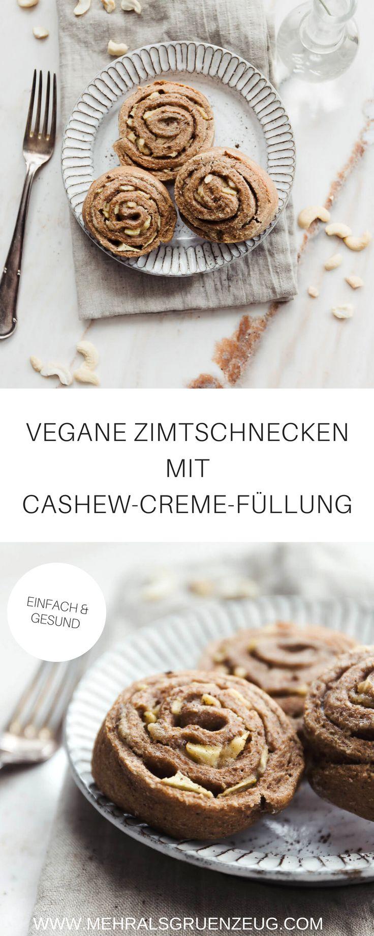 Vegane Zimtschnecken mit einer Füllung aus Cashews, Vanille und Apfel. Schnell gemacht und so lecker, dass sie mindestens ebenso schnell wieder aufgegessen sind.