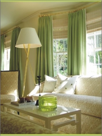 white room green curtains window treatment idea for bay windows or wall of windows with odd corners