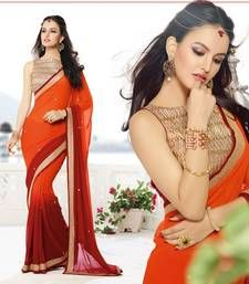 Orange , maroon embroidered georgette saree with blouse