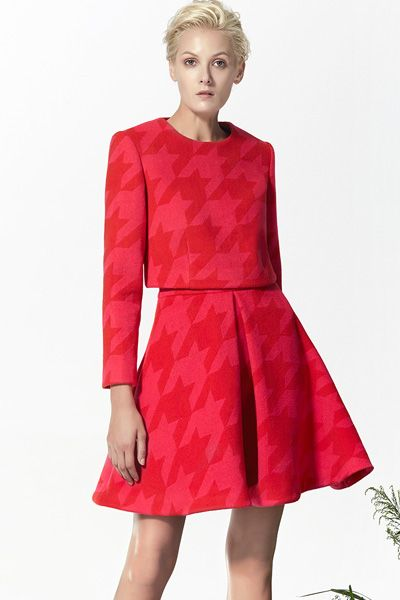 Red Wool Top, Red Wool Skirt, Flared Skirt, Xmas outfits! http://www.lastyleloft.com/online/shop-by-designer/vanessa-cheung/