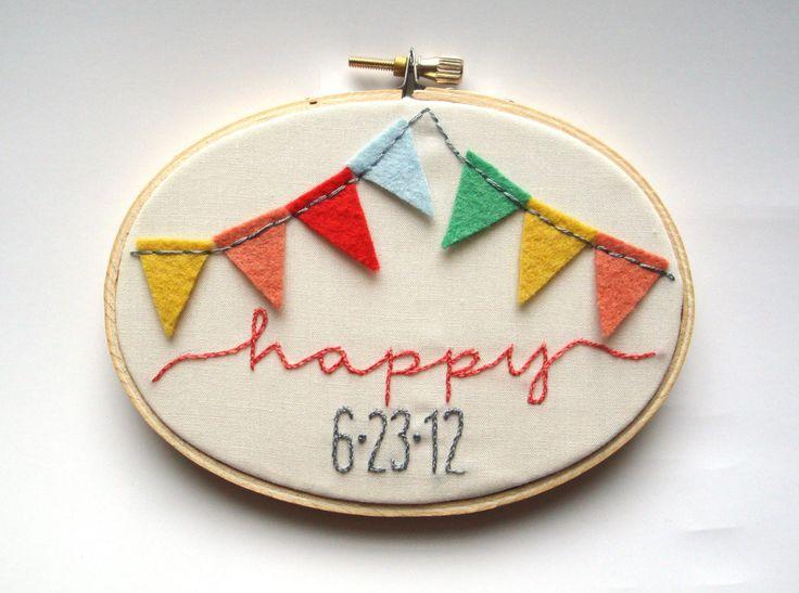 Custom hand embroidery wedding date decor embroidery hoop art - wall art photo prop. $46.00, via Etsy.