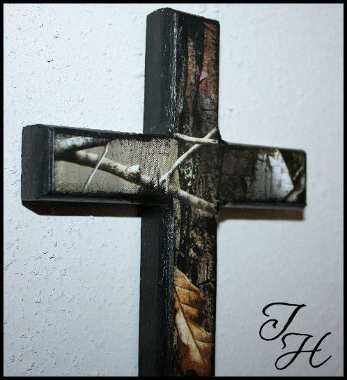 Home Decor Wood Cross Camo Camouflage Decor Hunting by designsbyTH, $10.00