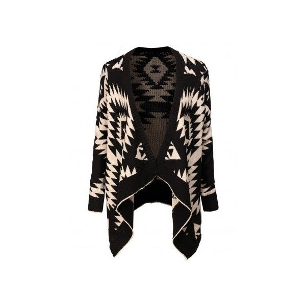 Womens Shawl Collar Sweater Cardigan With Tribal Pattern (AWOCAL023) (94 BRL) ❤ liked on Polyvore featuring tops, cardigans, jackets, outerwear, sweaters, tribal cardigans, tribal print tops, tribal print cardigan, tribal pattern cardigan and tribal top