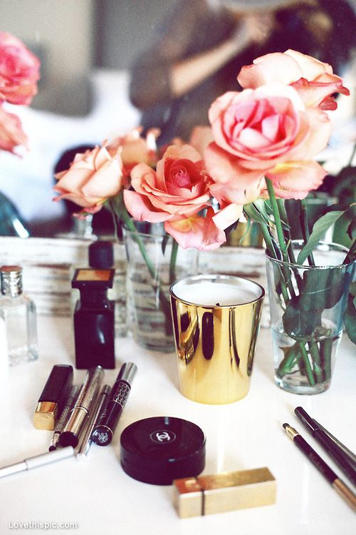 Pink roses and Chanel makeup fashion girly photography makeup flowers