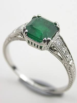 Vintage emerald engagement ring...this reminds me of my chemistry teacher in high school that said don't let your fiance get you a diamond, emeralds are worth more!