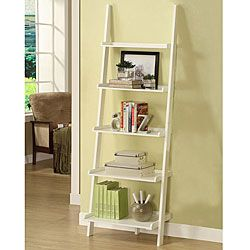 @Overstock - This unique leaning ladder shelf features a beautiful white finish and is a versatile and stylish addition to any room in your home. Five tiered shelves offer storage or placement to decorative items.http://www.overstock.com/Home-Garden/White-Five-tier-Leaning-Ladder-Shelf/5274131/product.html?CID=214117 $88.99