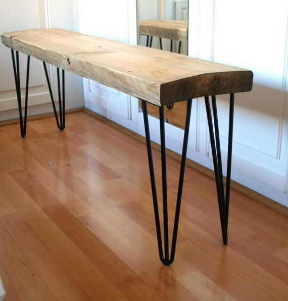 Hand crafted hairpin leg bench built for reclaimed wood and polished ...