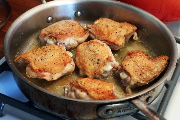 ... Braised Chicken Thighs and Cauliflower with Olives and Capers
