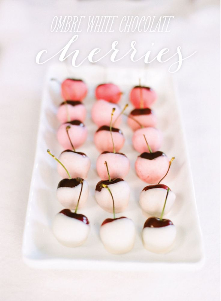 Valentines Day Recipes | Ombre white chocolate covered cherries