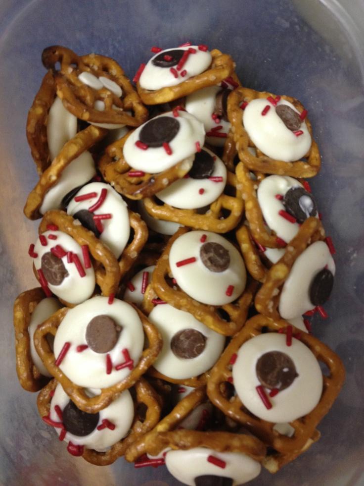 Pretzel eye ball snacks