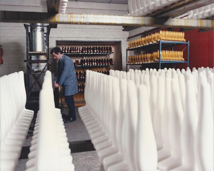 Rows and rows of brush handles waiting for their final finish in the factory in Virginia, Co. Cavan. Because they were hand-made Fleetwood brushes were regarded as the best on the market.