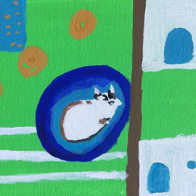ハンモックで眠るノア #yutostudio#ゆととノア#愛猫#子猫#かわいこちゃん#シャムミックス#キャットタワー#猫イラスト#猫の絵#眠り猫#イラスト#絵描き#猫作家#猫のいる暮らし#ハンモック#siamesemix#kitty#ilovemycat#withcat#sleepingcat#catillustration#illustration#artwork#acrylicpainting#mywork#painter#cattower