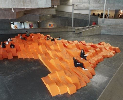 Installation at Berkely Art Museum by Faulders Studio. Landscape for Lounging and charging wireless devices