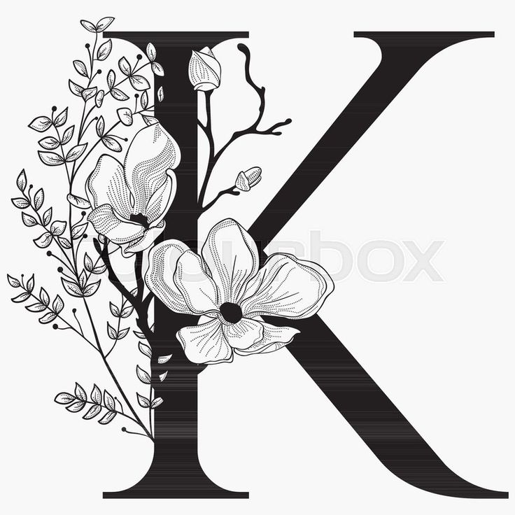 Stock Vector Of  U0026 39 Vector Hand Drawn Floral K Monogram Or