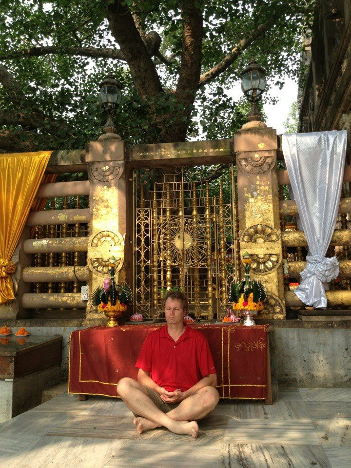 Meditating in front of the Bodhi tree at Bodhguya, India. This is the place where Buddha meditated and achieved enlightenment. You can see Terry's videos of Bodh Gaya here:  Part one: http://youtu.be/QWOfFFQqHic Part two: http://youtu.be/A6-k5eO7Tpk