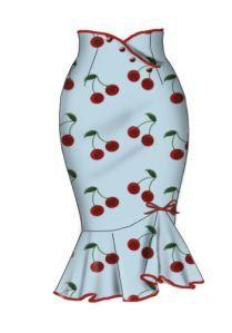 Falda lápiz con volantes, estilo pin up, decorada con botones y estampada de cerezas.