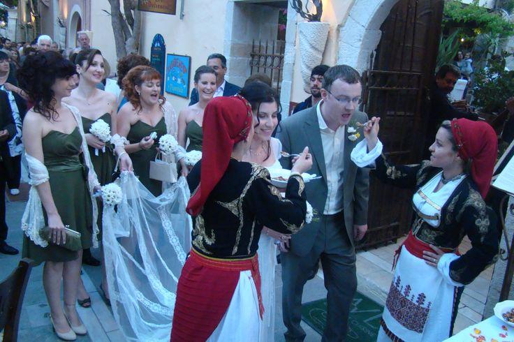 #traditional #wedding #rethymno #garden #crete #welcome #honey #nuts #dancers