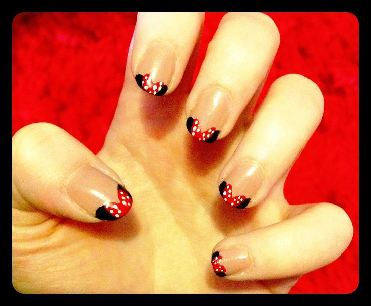 """Minnie Manicure"" - Hand-painted nail art by Mandy Jean Jordan."