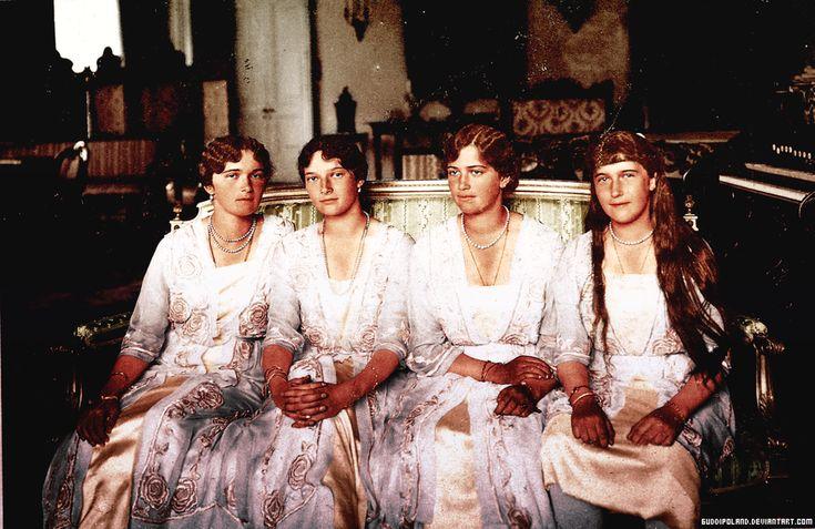 Grand Duchesses Olga, Tatiana, Maria and Anastasia of Russia, daughters of tsar Nicholas II. Black&white photo coloured by me.