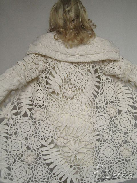 I had no idea that I was that crazy for lace till I started pinning so many great examples. I wish, I wish I could do this. They're right, this is something to do with your old lace tablecloths! By BELOCHKA, Irish crochet and knit combined