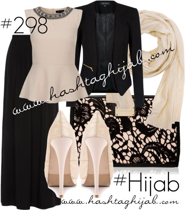 Hashtag Hijab Outfit #298 van hashtaghijab met shawls scarvesSleeveless peplum top€13 - newlook.comBlack jacket€35 - newlook.comBlack maxi skirt€13 - newlook.com2 Lips Too ivory shoes€39 - heels.comForever New zip wallet€21 - forevernew.com.auDoublju shawls scarve€13 - amazon.com