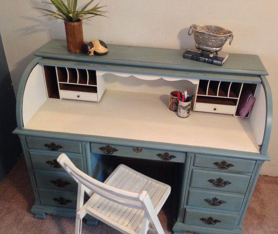 Roll Top Desk Home Office Desk Large Teal Desk By VintageHipDecor