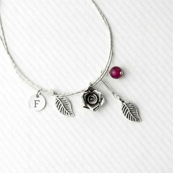 Sterling Silver Personalised English Rose Bracelet - Indian Ruby