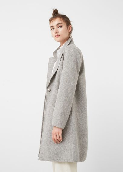 Textured wool-blend coat