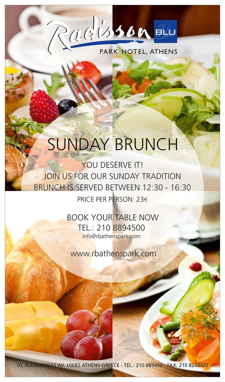 A Sunday tradition has already started here at Radisson Blu Park Hotel Athens. Join our ‪#‎Brunch‬ and savor a variety of homemade delicacies!  Book your table now at tel. 210 8894500  ‪rbathenspark.com