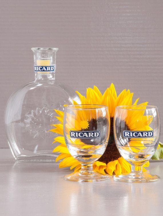 Pastis Ricard Set | Ricard Jug and Glass Set | French Pastis Drink Set | French Bistro Set | Ricard Pitcher, 2 Glasses | French Advertising