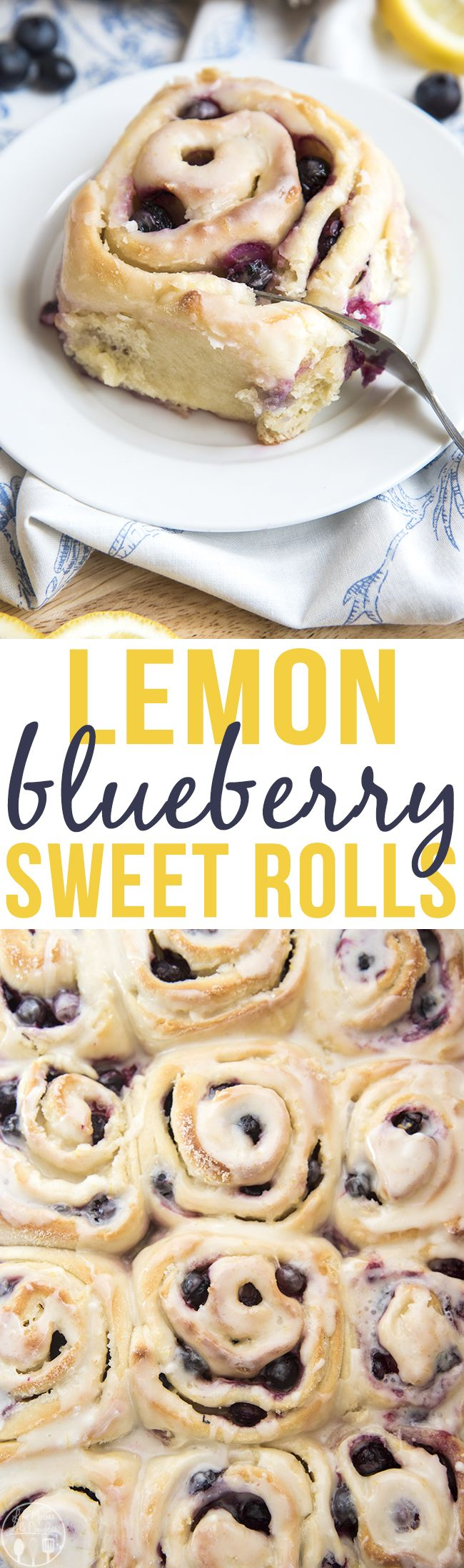 Lemon Blueberry Sweet Rolls - These lemon blueberry sweet rolls are perfectly soft and fluffy rolls bursting full of juicy blueberries