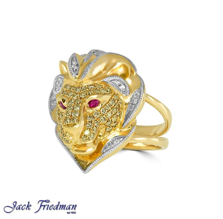 Lion with white and yellow diamonds and ruby eyes jackfriedman.co.za