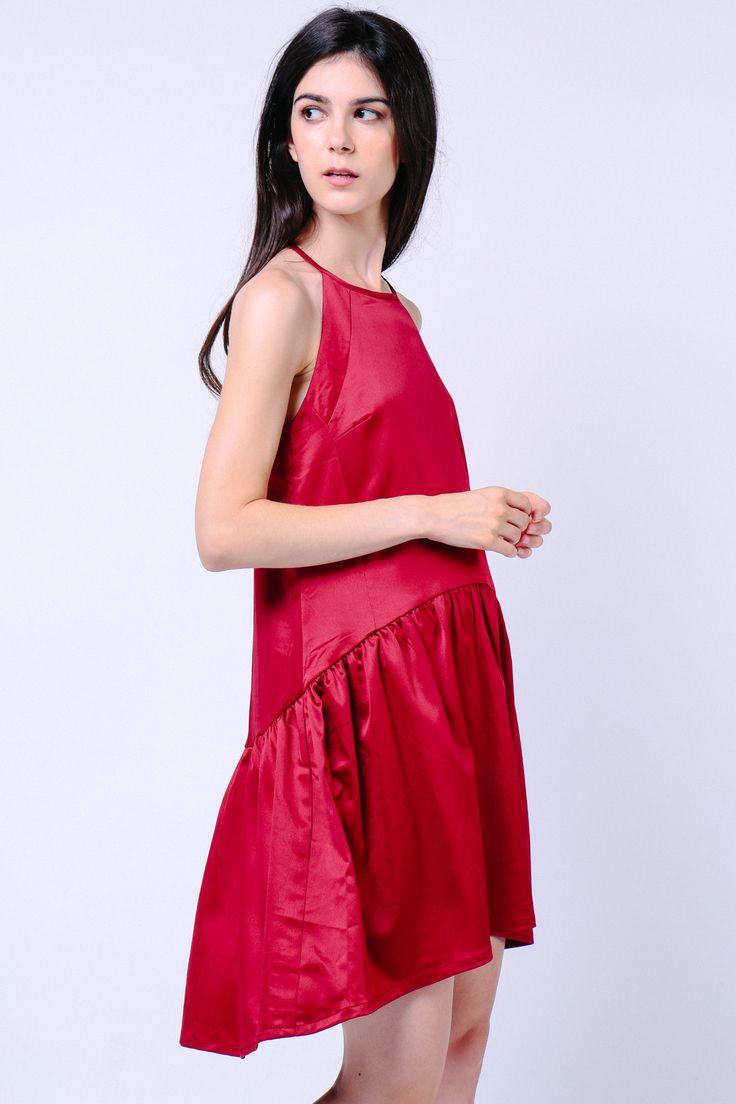 Cut-In Curve Hem Dress (Wine) Image 3