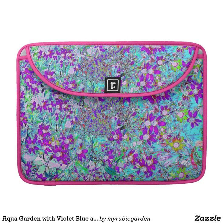 Aqua Garden with Violet Blue and Hot Pink Flowers MacBook Pro Sleeve | Zazzle.com