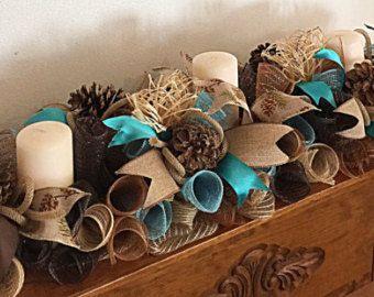 """36"""" Southwestern Burlap, chocolate and turquoise candle arrangement/Southwest Arrangement/Turquoise and Burlap centerpiece/Candle Arrangemen"""