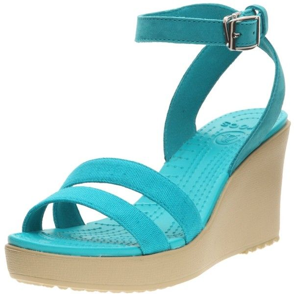 Amazon.com: Crocs Women's Leigh Wedge Sandal,Turquoise/Natural,6 M US:... ($25) ❤ liked on Polyvore featuring shoes, sandals, crocodile shoes, crocs wedge sandals, wedge heel shoes, wedges shoes and wedge heel sandals